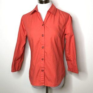 Columbia Womens Button Front Top Size S Orange 3/4
